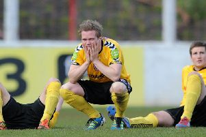 Derry City's Simon Madden and Patrick McEleney pictured after the club's penalty shootout defeat in the Setanta Cup Final.