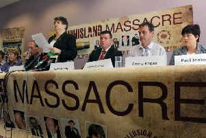 Clara Reilly from Relatives for Justice speaking for the Loughinisland families at a press conference in Belfast