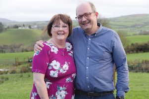 Supporting the Western Trust's Organ Donor Campaign as part of Valentines Day 14 February 2019 are two heart transplant recipients June Craig and Stephen Kee.
