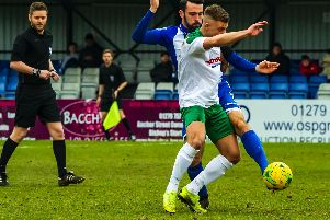 Mason Walsh battles for possession at Bishop's Stortford / Picture by Tommy McMillan