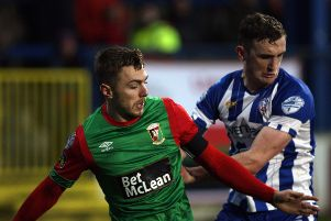 Glentoran's Robbie McDaid and Coleraine's Stephen O'Donnell in action the last time the two sides met at The Showgrounds.