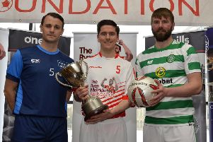 Pictured at the recent launch of the Ryan McBride Masters Soccer Sixes in the City Hotel are Daire Doyle, assistant manager, Longford Town and PFAI Sixes player, Gareth McGlynn representing the Ryan McBride Masters team and Paddy McCourt representing Celtic Football Club. The competition will be played in the Ryan McBride Brandywell Stadium on the 5th May next.