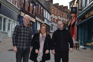 Sinn F�in Councillor Sharon Duddy meeting with local publicans William McGuinness (Gweedore Bar) Kevin Daly (Dungloe Bar) on Waterloo Street.