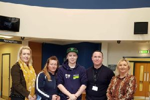 L-R Hayleigh Fleming Sinn F�in ,Michelle Gormley McLaughlin outdoor education Lecturer Eamon Kelly NWRCSU Governor Danny Lyttle Student Services and Sinn F�in Education spokesperson Foyle MLA Karen Mullan