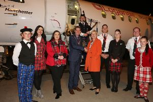 Kay Ryan, Loganair's commercial director, pictured with Mayor of Derry City and Strabane District Council, Cllr John Boyle, Charlene Shongo, Airport Manager for City of Derry Airport and crew.