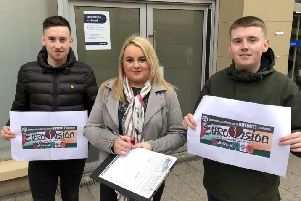 Councillor Sandra Duffy with Caol�n McGinley and Naill Rodgers collecting signatures in the city