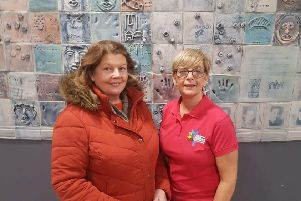 Sinn F�in Councillor Patricia Logue with Jacquie Loughrey, The Education and Prevention Officer at The Pink Ladies Cancer Support Group