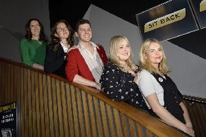 Writer Lisa McGee pictured with actors Louisa Harland, Dylan Llewellyn, Nicola Coughlan and Saoirse Jackson at the premiere of Derry Girls Two in Londonderry.