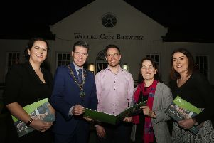 Mayor John Boyle launching the NICHE EU Interreg Project funded Local Food and Drink Strategy Action Plan for 2019-2025, along with Aeidin McCarter, Head of Culture with Derry City and Strabane District Council. The strategy was launched as part of a Legenderry Food Experience event hosted by the Walled City Brewery, also included is Catherine Goligher, food tourism officer with Derry City and Strabane District Council, James Huey, owner of the Walled City Brewery and Jennifer O'Donnell, Tourism Manager with Derry City and Strabane District Council (Photo by Lorcan Doherty)