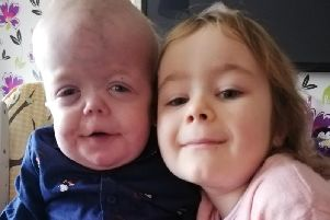 Little Rhys Dean, pictured with his sister Cerys