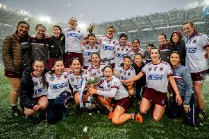 Slaughtneil celebrate with the trophy after the AIB All-Ireland Senior Camogie Club Championship Final.