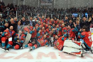 Belfast Giants celebrate their Challenge Cup success