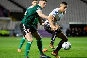 Bohemians' Ali Reghba with Eoin Toal of Derry City