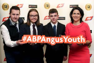 ABP Angus Youth Challenge Semi final judge and President of the NI Veterinary Association Aurelie Moralis joins Arthur Callaghan ABP NI Blade Farming Co-ordinator with some of the 51 semi finalists, Jayne Cruickshank from Ballymena Academy and Robert Dowey from Ballycastle High School.