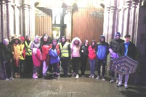 Some of the young people gathered at the Cathedral on Friday night.