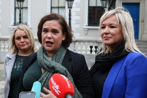 Michelle O'Neill with Mary Lou McDonald and Derry Councillor Sandra Duffy