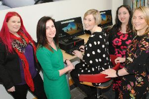 Pictured from left is Tina Calder (Excalibur Press), Julie Reid (Libraries NI), Michelle Connolly (Learning Mole), Christine Watson (Training Matchmaker), Vivian McKinnon (Wellness Consultant).