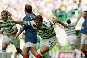 Celtic legend, Stiliyan Petrov celebrates scoring one his 55 goals for the Hoops.