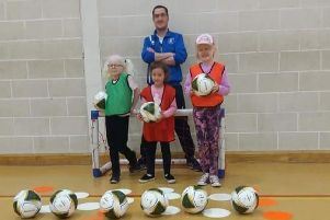 Maggie, Abbie and Freya with Danny Hutch VI football coach