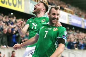 Niall McGinn (right) enjoying his first goal in front of the home fans, with Stuart Dallas joining in the celebrations. Pic by PressEye Ltd.