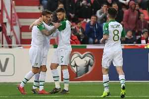 Republic of Ireland's Jeff Hendrick (left) celebrates scoring his side's goal.