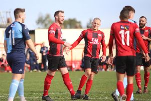 Declan Towers enjoys the moment after he headed home Kettering Town's second goal in their 2-0 success over St Neots Town at Latimer Park. Pictures by Peter Short