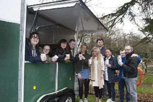 TEA IN THE PARK  -  Group pictured on Friday morning at the Playtrail's new 'Tea in the Park' initiative - joint winner of the '�2k Social Enterprise Competition.' run by Derry City and Strabane District Council as part of Enterprise Week 2019. The Playtrail's �1k prize will go towards retrofitting this traditional 'Horsebox' with tea and coffee-making facilities which will provide customer service training for a group of 15-20 young people with disabilities who will serve refreshments to visitors at the Belmont site. Included with some of the young people at the site are Jenny Marshall, Project Co-Ordinator, Anne Marie Donnelly, Transition Services Manager, Liberty Consortium, Ciara Donnelly Jack, Technical Support Officer and Mark Roberts, Director, Liberty Consortium.