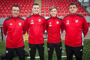 St Joesph's Boys' School past pupils, Martin McCann (first team coach), David Parkhouse, Ciaron Harkin and Declan Devine (manager).