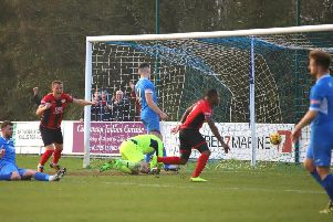 Aaron O'Connor's dramatic late goal at Leiston set up the chance for Kettering Town to clinch the Evo-Stik League South Premier Division Central title this weekend. Picture by Peter Short