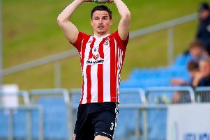 Derry City defender, Ciaran Coll was injured after a tackle by Colm Deasy.