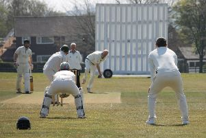 Sean Wooley opens Caistor's defence of their Premier title, bowling from the Kelsey Road End. Picture: Wes Allison EMN-190423-100859002
