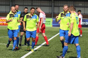 Little Common celebrate scoring during their 4-1 win away to Langney Wanderers on Easter Monday. Picture courtesy Paul Field