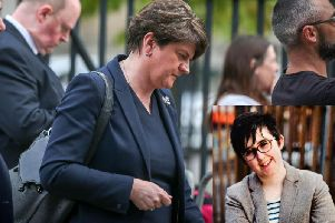 DUP leader, Arlene Foster, pictured at the funeral of Lyra McKee in Belfast on Wednesday. Inset: the late Lyra McKee. (Photos: Presseye and Pacemaker)