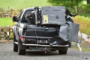 Pacemaker Press  25/4/2019'Cash Machines recovered near  the Woodside Road  in Balllymena on Friday , Two cash machines stolen in an overnight raid have been recovered by police.'The theft happened on the Larne Link Road in Ballymena, with thieves ripping the two machines from a Tesco.'Police received a report of the incident at about 03:00 BST, after a pick-up type vehicle loaded with the cash machines was spotted fleeing.'12 cash machines have been stolen in 10 incidents in Northern Ireland in 2019.'Pic Colm Lenaghan/Pacemaker