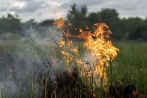 A grass fire. Photo by Warwickshire County Council.