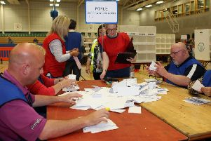 First ballot papers at a previous election count at Foyle Arena in Derry (Photo by Freddie Parkinson / Press Eye.)