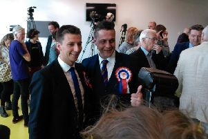 Newly elected DUP Councillors Ryan McCreadie and Graham Warke.
