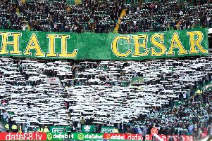 Fans hold up banners in memory of the late Billy McNeill before the Ladbrokes Scottish Premiership match at Celtic Park