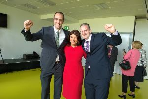 Sinead McLaughlin with party colleagues Mark Durkan and Martin Reilly
