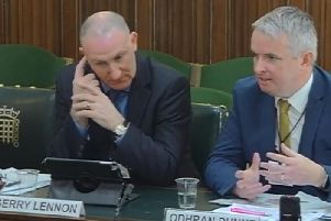 Visit Derry manager, Odhran Dunne, with Visit Belfasts Gerry Lennon at the N. Ireland Affairs Committee.