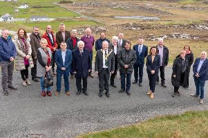 Pictured at the new visitor toilet facilities at Malin Head marking the completion of �400K Phase II works at Malin Head on Wednesday are Cllr. Martin Farren, Cathaoirleach of Inishowen MD with Cllr. Nicholas Crossan, Cllr. Bernard McGuinness, Cllr. Martin McDermott, Cllr. Albert Doherty, Seamus Neely, Chief Executive Donegal County Council, Joan Crawford, Failte Ireland, Liam Ward, Donegal County Council, Joe Diver, Malin Head Community Development Association, Geraldine Diver, Malin Head Community Development Association, Catriona Doherty, Malin Head Community Development Association, Jim Mullin, Malin Head Community Development Association, Aideen Doherty, Donegal County Council, Fiona Doherty, Donegal County Council, Shaun Murphy, Donegal County Council and James Kelly, Donegal County Council and representatives from Keys and Monaghan Architects and Cooney Architects.