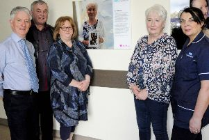 Brookes Family from Eglington - Dr Declan Grace, Western Trust Organ Donor Lead; Gerry Cosgrove; Rachel Tadier; Kay Brookes (mum) and Mairead Coyle, Specialist Nurse for Organ Donation at Altnagelvin Hospital pictured at the unveiling of David Brooke's Organ Donation Storyboard at Altnagelvin Hospital.