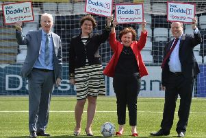 Gregory Campbell, Arlene Foster, Diane Dodds and Nigel Dodds at the DUP European election manifesto launch.