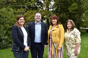 Pictured are, from left, Gillian Montgomery, Assistant Director, Probation Board, Jonnie McDevitt, Suzanne Mahon, Western Trust, and Marie Brown, Director, Foyle Women's Aid. DER1819-129KM