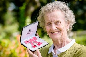 Viv Morgan with her MBE.