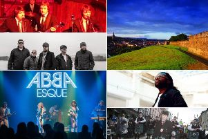 Some of the WallsFest line-up bound for Derry's city centre this weekend: Clockwise from top left: Beatles for Sale, Jazzie B from Soul II Soul, Colm Cille Pipe Band, Abbaesque and The Wailin' Banshees.