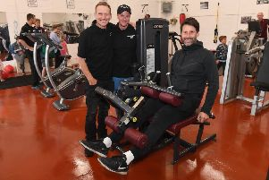 New gym opening on Morlands Industrial estate, Metheringham, by Lincoln City FC manager Danny Cowley. L-R Joint owners Ian Greaves and Graeme Theodore with Danny Cowley. EMN-190520-112016001