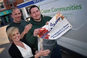 Clair and Pete Wakefield with Lee Freer, the team from Cleaner Communities who are giving Melton a spring clean EMN-190524-125122001