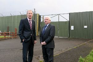 Gregory Campbell MP and George Robinson MLA pictured at the Shackleton Barracks in Ballykelly. INLV4111-202KDR