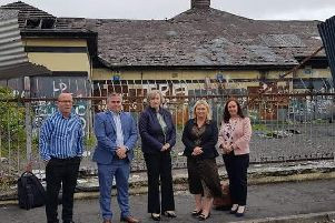 Karen Mullan MLA pictured at the site earlier this year with Donncha MacNaillais. Dove House, Gerard Murray, Urban Village Programme,  Sharon McCullagh, Department for Communities and Karen Philips, Derry City and Strabane District Council.